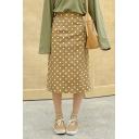 Chic Brown High Waist Polka Dot Printed Slit Back Straight Midi A-Line Skirt