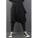 Popular Fashion Zip Embellished Simple Plain Black Loose Drop-Crotch Harem Pants for Men