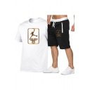 Summer Mens Cool Basketball Player Printed Short Sleeve Tee with Sport Shorts Two-Piece Set