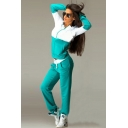 Fashion Color Block Two-Tone Zip Hoodie with Joggers Pants Sport Two-Piece Set for Women