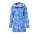 Funny Allover Whale Printed Outdoor Lightweight Zip Up Hooded Windbreaker Coat