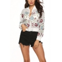 Womens Chic Floral Embroidery Stand Collar Long Sleeve White Zip Up Sunscreen Jacket