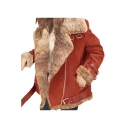 Womens Winter Hot Trendy Notched Lapel Collar Long Sleeve Motor Faux Shearling Jacket