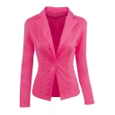 Office Lady Fashion Simple Plain Notched Lapel Collar Single Breasted Gathered Waist Slim Fit Blazer Jacket