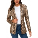 Fashion Khaki Snakeskin Pattern Lapel Collar Slim Fit Blazer Jacket