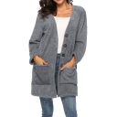 Womens Winter Warm Fluffy Fleece Button Front Plain Longline Cardigan
