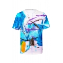 Mens Summer Funny Painting Print Short Sleeve Round Neck Casual Blue T-Shirt