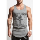 Letter GOLD'S GYM Graphic Print Scoop Neck Sleeveless Breathable Fitness Muscle Bro Tank Top for Guys