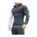 Men's New Stylish Colorblock Long Sleeve Zipped Pocket Slim Fit Sports Zip Up Hoodie