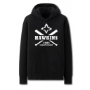 Trendy Letter Hawkins Championship 1984 Graphic Printed Black Casual Pocket Hoodie