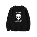 New Stylish Alien Storm Area Letter Print Basic Round Neck Pullover Sweatshirt