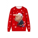 Christmas New Fashion Funny Trump Snowflake 3D Printed Round Neck Long Sleeve Red Sweatshirt