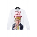 New Fashion Letter YOU ARE FIRED Funny Trump 3D Printed Long Sleeve Round Neck Pullover Sweatshirt