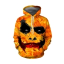 Halloween New Arrival Yellow Clown Face 3D Printed Drawstring Hooded Long Sleeve Loose Hoodie