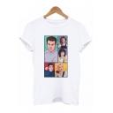 Best Friends Cartoon Comic Figure Printed Round Neck Short Sleeve White T-Shirt