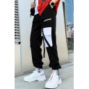 Handsome Colorblock Flap Pocket Design Ribbon Embellished Trendy Casual Sports Cargo Pants for Men