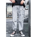 New Fashion Solid Color Multi-pocket Casual Sports Mens Drawstring Cargo Pants
