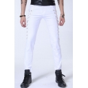 New Arrival Punk Style Cool Crisscross Side Simple Plain Slim Fitted Mens Casual Pencil Pants