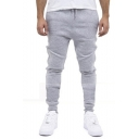 New Arrival Stylish Knee Pleated Patched Simple Plain Drawstring Waist Mens Casual Cotton Sweatpants Sports Pencil Pants