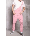 New Arrival Stylish Slim Fitted Pink Ripped Jeans Trendy Bib Overalls for Guys