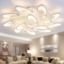 Multi Light Windmill LED Ceiling Lamp Modern Fashion Metal Semi Flush Mount Light in White for Living Room