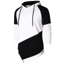 Men's New Stylish Colorblock Patched Irregular Hem Drawstring Hooded Black and White Casual Sports Hoodie