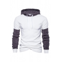 Men's New Fashion Colorblock Corduroy Patched Drawstring Hooded Long Sleeve Casual Warming Pullover Hoodie