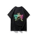 Summer Stylish Cartoon Figure Letter Pattern Round Neck Short Sleeve Loose T-Shirt For Men