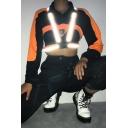 Cool Punk Style Black Zippered Lapel Collar Lantern Sleeve Color block Sweatshirt
