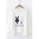 Stylish High Low Cute Cartoon Rabbit Letter KAWA Printed Round Neck Long Sleeve Loose White Sweatshirt