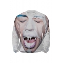 Creative Milk Boy 3D Printed Round Neck Long Sleeve White Casual Pullover Sweatshirts