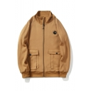 Mens New Trendy Simple Plain Stand Collar Long Sleeve Zip Up Casual Jacket Coats