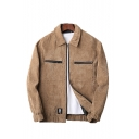 Mens Hot Fashion Simple Plain Lapel Collar Long Sleeve Zip Up Casual Jacket Coat