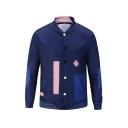 Mens Hot Fashion Colorblock Printed Rib Stand Collar Long Sleeve Button Down Dark Blue Baseball Jacket