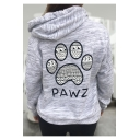 Popular Letter PAWZ Bear Claw Printed Long Sleeve Grey Pocket Pullover Drawstring Hoodie