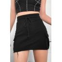 Summer Hot Sale Drawstring Waist Side-Pocket Mini Bodycon Cargo Skirt