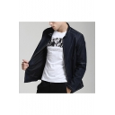 New Arrival Popular Plain Stand Collar Long Sleeve Zip Up Fitted Black Denim Jacket