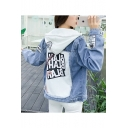 Girls Fashion Removable Hood Letter Appliqués Printed Button Cuffs Denim Jacket