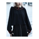 Hot Popular Black Embroidered Flower Square Neck Long Sleeve Pullover Sailor Sweatshirt