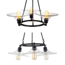 Glass Saucer Hanging Chandelier 3 Lights Industrial Pendant Lamp in Black for Kitchen