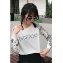Hot Fashion White Star Print Long Sleeve Round Neck Regular Sweatshirt