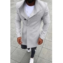 Men's New Fashion Plain Notched Lapel Collar Long Sleeve Double Breasted Peacoat