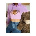 Cute Bear Print Long Sleeves Loose Purple Crop Pullover Hoodie