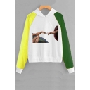 God and Adam Printed Color Block Long Sleeve Pullover Hoodie