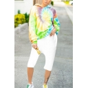 Leisure Colorful Spiral Printed Long Sleeve Loose Pullover Hoodie