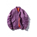 Guys New Stylish Lettre JIASHANG CHENGYI Print Stand Collar Long Sleeve Zip Up Placket Baseball Workwear Jacket