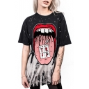 Hot Fashion Letter DONT Comic Mouth Pattern Round Neck Short Sleeve Black Loose Casual T-Shirt