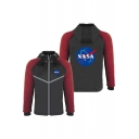 New Trendy Letter NASA Print Zip Closure Long Sleeve Hooded Black Baseball Jacket