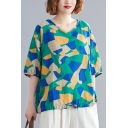 Women's Fashion Geometric Print V-Neck Half Sleeve Loose Green Linen Blouse Top