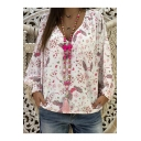 Summer Trendy Heart Swing Printed Long Sleeve V-Neck Loose Shirt